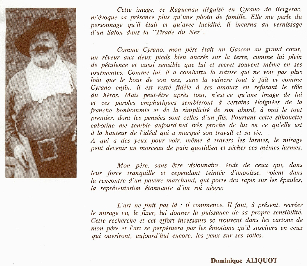 Introduction au catalogue de la rétrospective Roger Aliquot 1940-1979 à Hénin-Beaumont en 1981